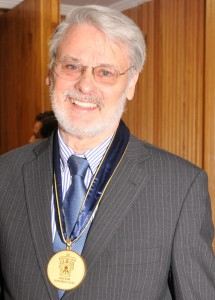 Dr. Michael G. Moore with the medal at the award of Honorary Doctorate at University of Guadalajara